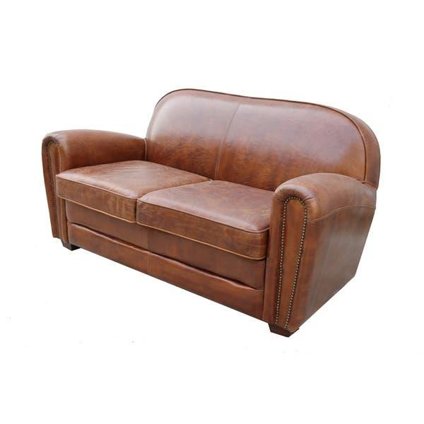 Marvelous Shop Pasargad Home Paris Club Genuine Leather Loveseat On Frankydiablos Diy Chair Ideas Frankydiabloscom