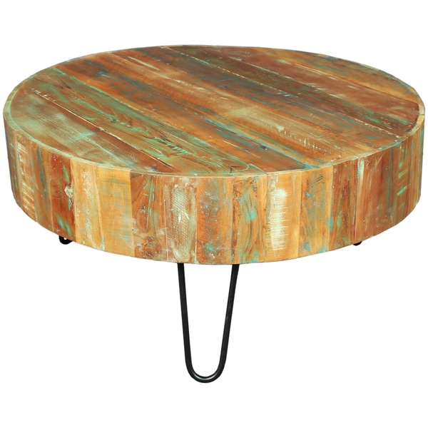 Wanderloot Tulsa Round Reclaimed Wood Hairpin Legs Coffee Table   Free  Shipping Today   Overstock.com   18726319
