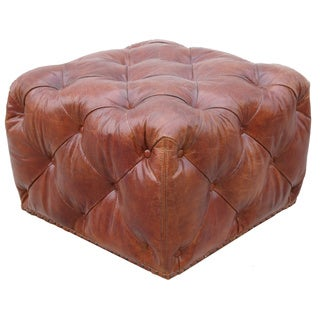 Pasargad Paris Club Genuine Top Grain Leather Ottoman