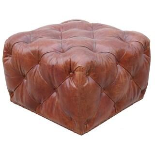 Pasargad Paris Club Genuine Top Grain Leather Ottoman
