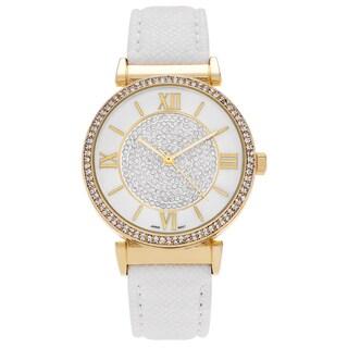 Geneva Platinum Women's Rhinestone Roman Numeral Strap Watch - White