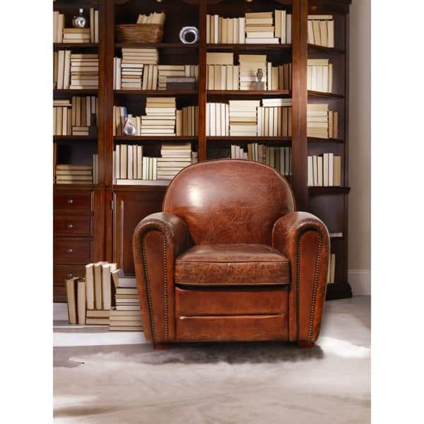 Fantastic Shop Pasargad Home Genuine Leather Paris Club Chair Free Spiritservingveterans Wood Chair Design Ideas Spiritservingveteransorg