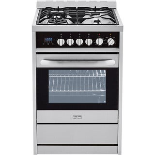 Haier Steel 24-inch 2.0 cu ft Dual Fuel Range True Euro Convection With Triple-ring Burner