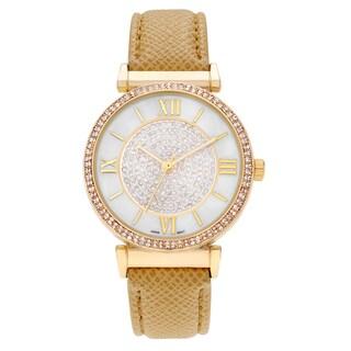 Geneva Platinum Women's Rhinestone Roman Numeral Strap Watch - Tan