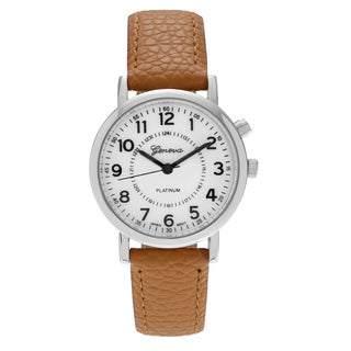 Geneva Platinum Women's Light-up Faux Leather Strap Watch