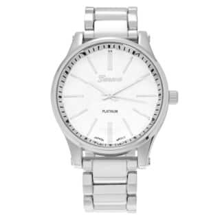 Geneva Platinum Women's Polished Round Face Link Watch|https://ak1.ostkcdn.com/images/products/11820510/P18726400.jpg?impolicy=medium