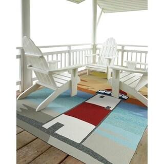 """Indoor/ Outdoor Beachcomber Lighthouse Multi Rug (7'6"""" x 9'0) - 7'6"""" x 9'"""