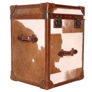 Pasargad Paris Club Side Table with Brown and White Cowhide Top