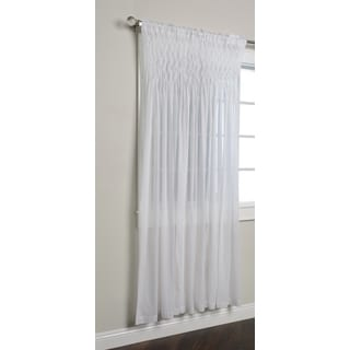 Kosas Home Smocked White Cotton Sheer 84-inch Curtain Panel