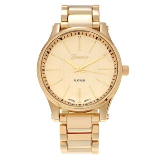 Geneva Platinum Women's Polished Round Face Link Watch