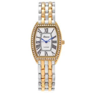 Geneva Platinum Women's Rhinestone Rectangle Link Watch