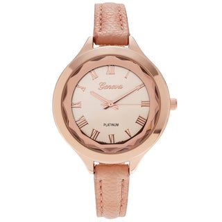 Geneva Platinum Women's Polished Croc Print Faux Leather Strap Watch