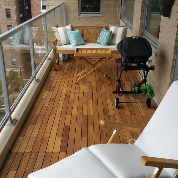 Flexdeck 2 0 Hardwood 18 X 36 Inch Snap In Deck Tiles