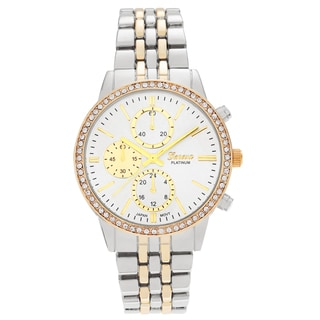Geneva Platinum Women's Rhinestone Panther Link Watch