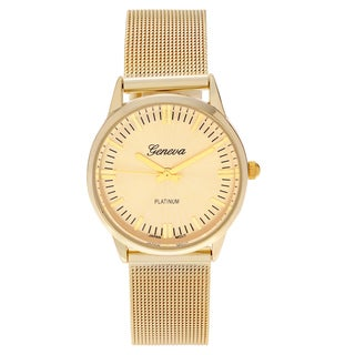 Geneva Platinum Women's Round Face Mesh Bracelet Watch