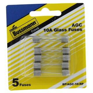 Bussman BP/AGC-10-RP 10 Amp Fuses 5-count