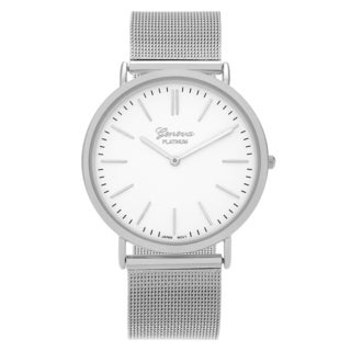 Geneva Platinum Women's Round Face Mesh Strap Watch