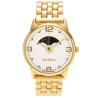 Geneva Platinum Women's Round Face Panther Link Watch