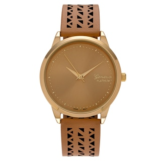 Geneva Platinum Women's Cutout Faux Leather Strap Watch