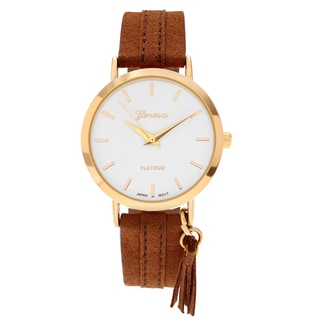Geneva Platinum Women's Round Face Faux Leather Strap Watch