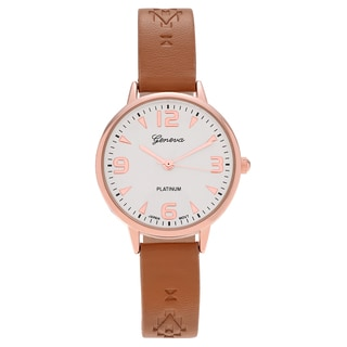 Geneva Platinum Women's Polished Aztec Print Faux Leather Strap Watch