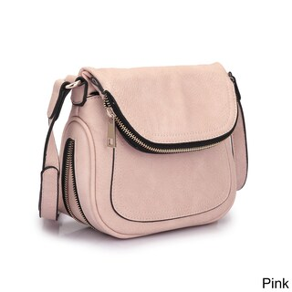 Dasein Front Flap Messenger Bag (Option: Pink)