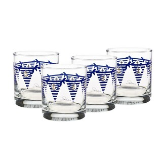 Culver Set Of 4 Blue 22-karat Gold 11-ounce Old-fashioned Burgee Glasses