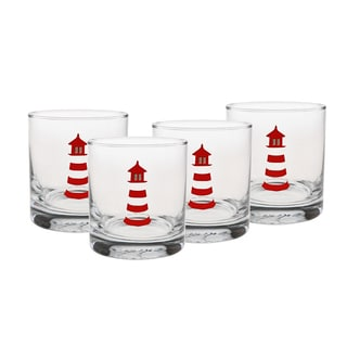Culver 22-karat Gold 11-ounce Old Fashion Glass Lighthouse Set of 4