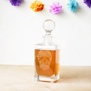 Sugar Skull Glass 32-ounce Square Whiskey Decanter