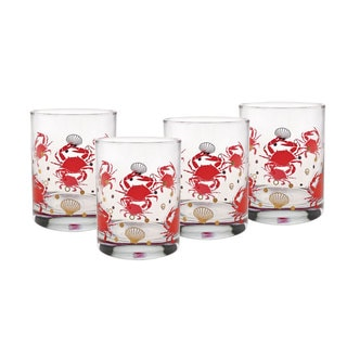 Culver 22-karat Gold 14-Ounce Set of 4 Double Old-fashioned Red Crab Glasses