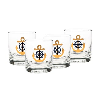 Culver Set Of 4 22-karat Gold 11-ounce Old-fashioned Glass Anchor & Wheel