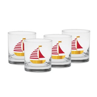 Culver Red Sailboat 22-karat Gold 11-ounce Old Fashion Glasses (Set of 4)