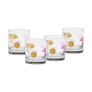 Culver Blooming Pink Glass/22-karat Gold 11-ounce Old Fashioned Glass Set of 4