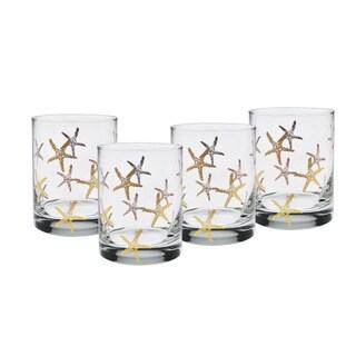 Culver 22-karat Gold 14-ounce DOF Set Of 4 Glass Starfish