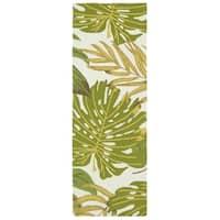 Indoor/Outdoor Beachcomber Leaves Green Rug - 2' x 6'