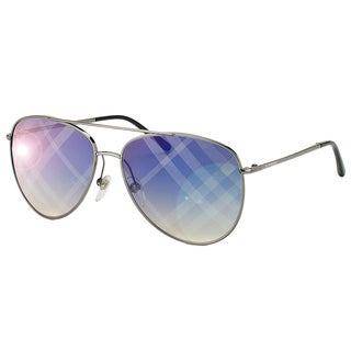 Burberry BE 3072 1003B2 Gunmetal Metal Aviator Blue Mirror Check Lens Sunglasses
