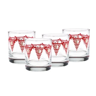 Culver Red Burgee 22k Gold 11-ounce 4-piece Set of Old Fashion Glasses