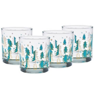 Culver 22-karat Gold 11-ounce Old-fashioned Set of 4 Evergreen Glasses