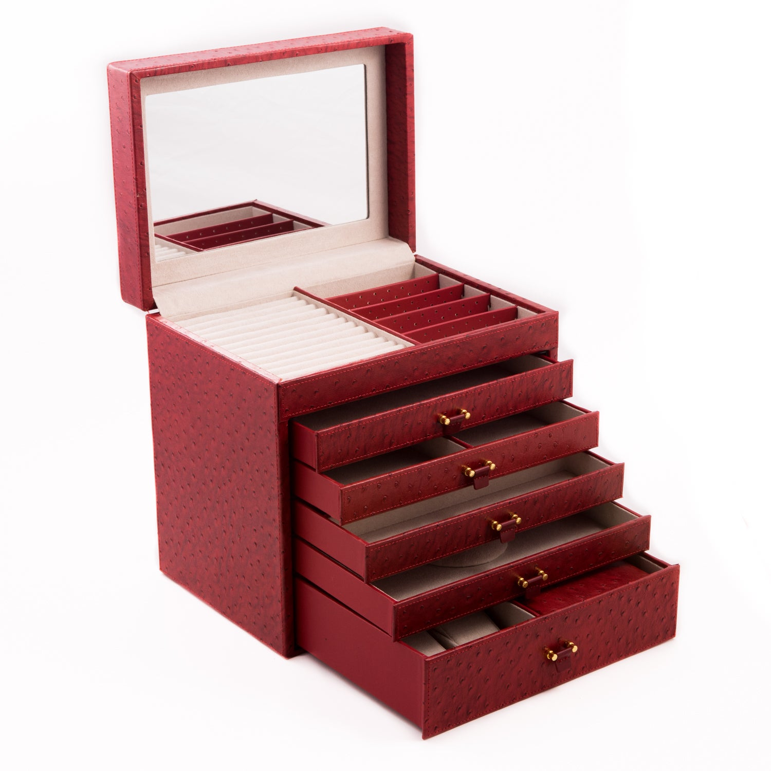 Bey Berk Charlotte Leather Jewelry Case (RED)