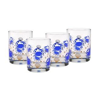 Culver 22-karat Gold 14-ounce DOF Set Of 4 Glass Blue Crabs
