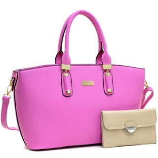 Dasein Fashion Faux Leather Work Tote & Faux Leather Wallet with Buckle Snap Closure