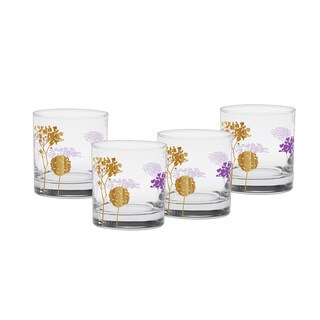 Culver 22-karat Gold 11-ounce Blooming Purple Old Fashion Glasses (Set of 4)
