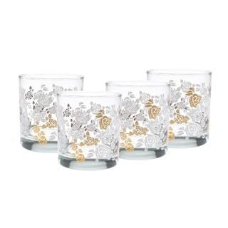 Culver 22k Gold White Rose 11-Ounce Old Fashion Glass Set of 4