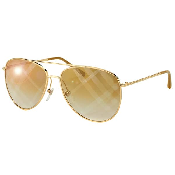 b856ba6f2770 Burberry BE 3072 1017B3 Gold Metal Aviator Gold Mirror Check Lens Sunglasses