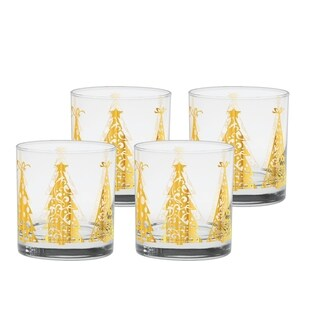 Culver 22k Gold Set Of 4 11-Ounce Old-fashion Glass Joyous Trees