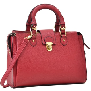 Dasein Satchel Handbag with Front Snap Lock Accent