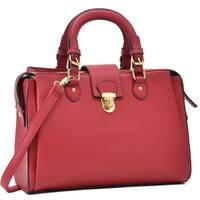 Dasein Front Snap Lock Satchel/Crossbody Handbag