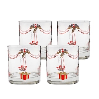 Culver 22 Karat Gold 11-ounce Glass Holiday Drinkware (Set of 4)