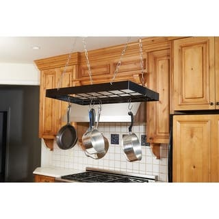 Fox Run Black Square Pot Rack With Chrome Chains and Hooks