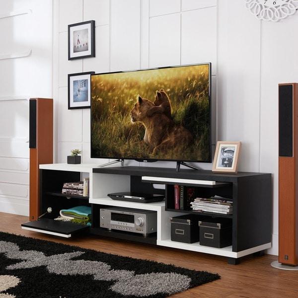furniture of america curie modern two tone 70 inch tv